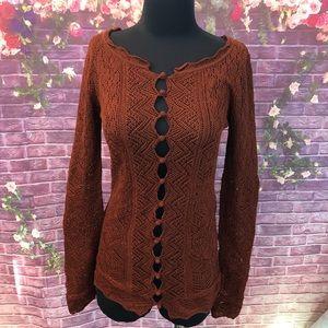 Peruvian Connection Rust Crochet Cardigan